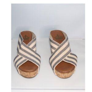 Crown Vintage Cork Wedge Blue Sandals